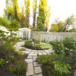 Scattered Paving Landscaped Backyard with Outdoor Room/ Kitchen